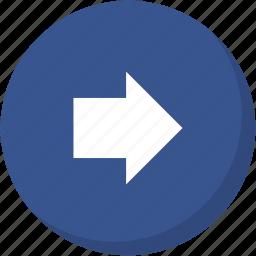 arrow, circle, darkblue, direction, navigation, right icon