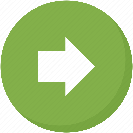arrow, circle, direction, green, navigation, right icon