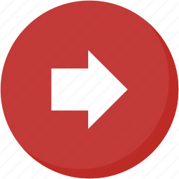 arrow, circle, direction, navigation, red, right icon