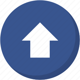 arrow, circle, darkblue, direction, navigation, up, upload icon