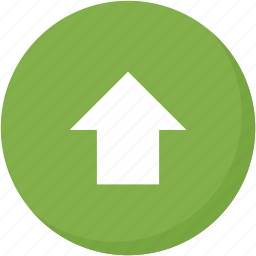arrow, circle, direction, green, navigation, up, upload icon