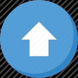 arrow, circle, direction, lightblue, navigation, up, upload icon