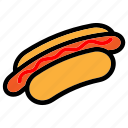 cooking, eat, fast food, food, hotdog, meal, sausage icon