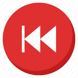arrow, back, direction, left, music, red, song icon