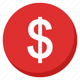 cash, currency, finance, investment, money, payment, red icon