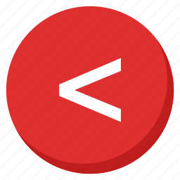 arrows, back, direction, left, lower, navigation, red icon