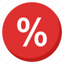 cash, finance, money, payment, percent, profit, red icon