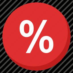cash, finance, money, payment, percent, profit, red icon