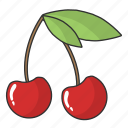 cherry, food, fruit, summer fruit icon