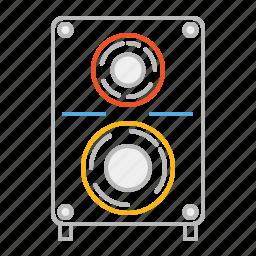 audio, line, louder, loudspeaker, music, party, sound, sound system, speaker, stroke, volume, woofer icon