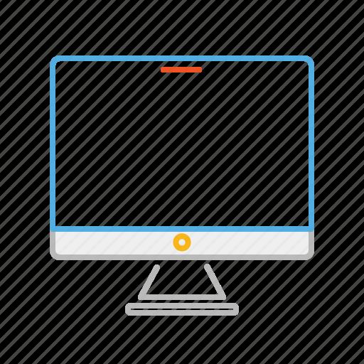 computer, device, electronic, laptop, line, multimedia, screen, stroke icon