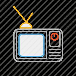 device, film, line, movie, retro, retro tv, stroke, television, tv, video, watch icon