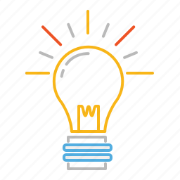 bulb, creative, creativity, electricity, idea, light, light bulb, line, shine, stroke icon