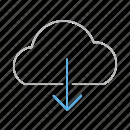 arrow, cloud, down, download, file, internet, line, stroke, upload, web icon