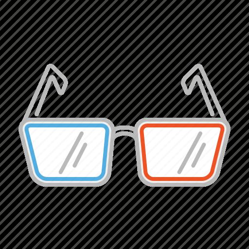cinema, glasses, line, movie, stroke, sun glasses, watch icon