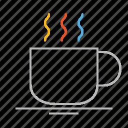 bar, café, coffee, cup, drink, hot, line, mug, restaurant, stroke icon