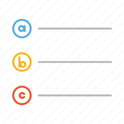 alphabet, line, list, stroke icon