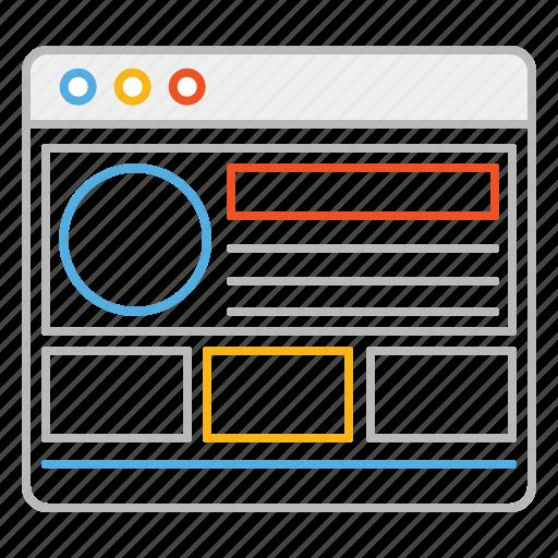 browser, design, designer, draft, layout, line, stroke, template, web, web layout, website icon