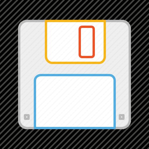 diskette, floppy, floppy disk, guardar, line, save, stroke icon