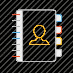 agenda, book, contact, line, notebook, people, stroke icon