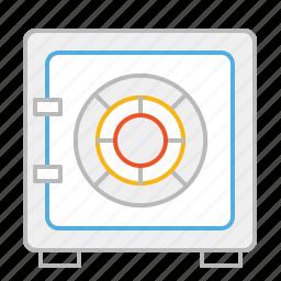 bank, box, deposit, deposit box, line, safe, secure, stroke icon