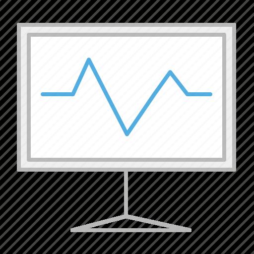 analysis, board, chart, graph, line, presentation, results, stroke icon