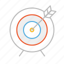 archer, arrow, bow, line, reach, stroke, success, target icon