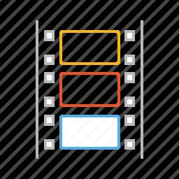 cinema, entertainment, film, film roll, line, movie, stroke, television, tv, watch icon