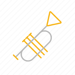 concert, instrument, line, melody, music, stroke, trumpet icon