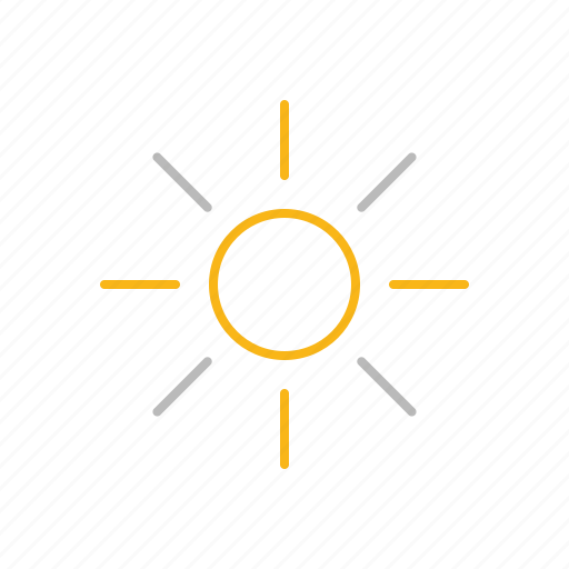 hot, line, ray, spring, stroke, summer, sun, warm, weather icon