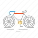 bicycle, bike, cardio, line, mountain bike, race, sport, stroke icon