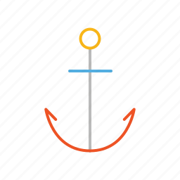 anchor, boat, line, maritime, ocean, sea, stroke icon