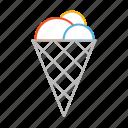 dessert, ice, stroke, cone, sweet, cold, line, ice cream, cornet icon