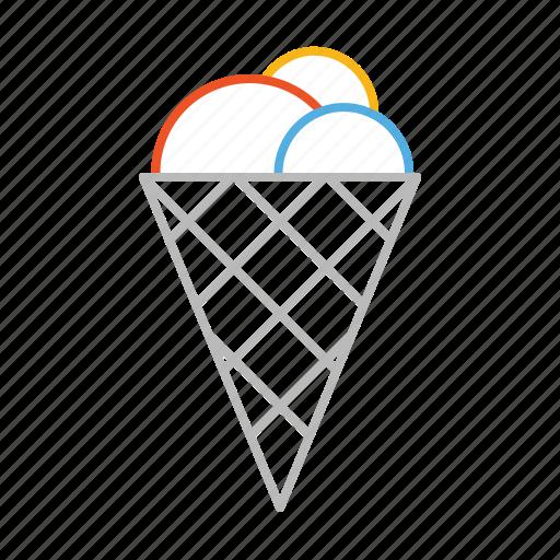 cold, cone, cornet, dessert, ice, ice cream, line, stroke, sweet icon