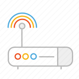 device, internet, line, modem, router, signal, stroke, wifi icon