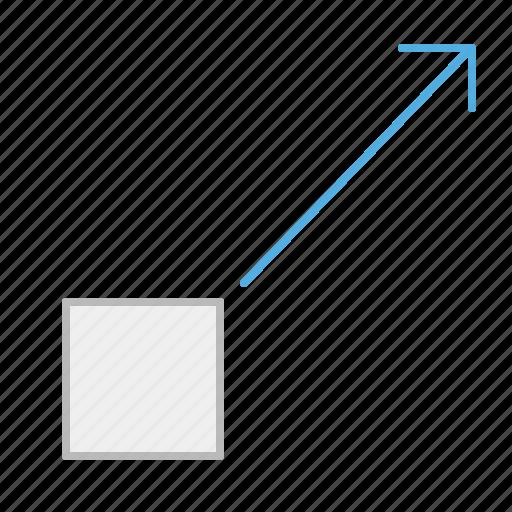 arrow, block, element, line, move, position icon