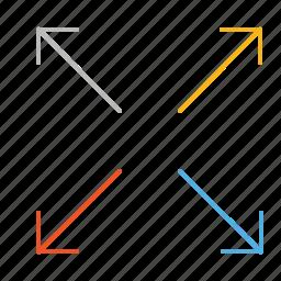 arrow, arrows, in, line, mobile, screen, zoom icon