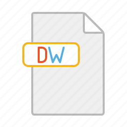document, dreamweaver, dw, file, line, software icon