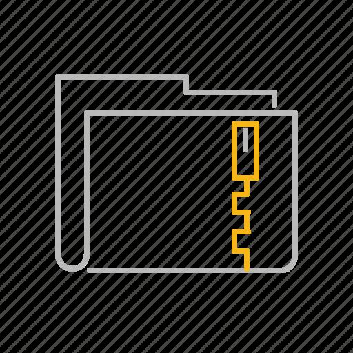 compress, compressed, file, folder, line, rar, zip icon