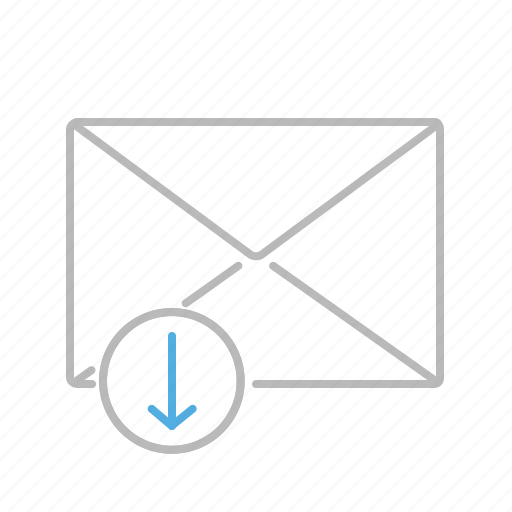 arrow, communication, down, download, email, line, mail, message, receiving icon