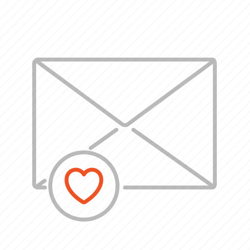 communication, email, favorite, favourite, heart, important, line, love, mail, message icon