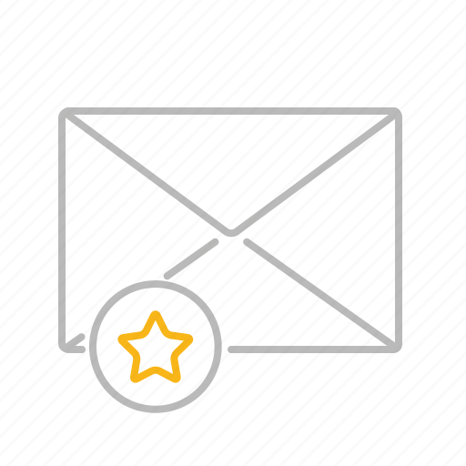 communication, email, important, line, mail, message, premium, star icon