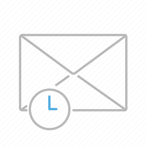 clock, communication, email, line, mail, message, receiving, time icon