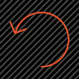 arrow, back, backward, go back, left, line, previous icon