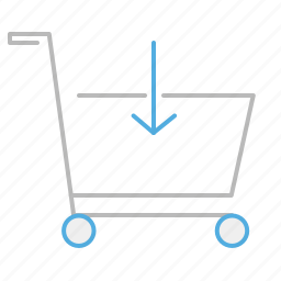 buy, cart, download, line, product, shop, shopping cart, store, stroke, supermarket, trolley icon