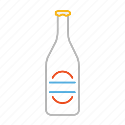 bottle, drink, line, soft drink, thirsty, water icon