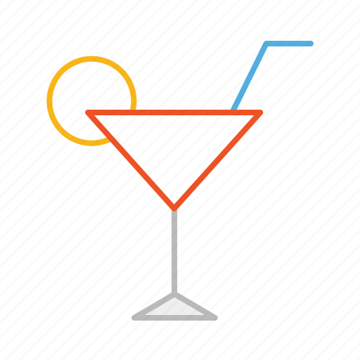 alcohol, cocktail, drink, lemon, line, party icon