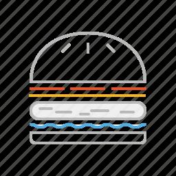 fast food, food, hamburger, junk food, line icon