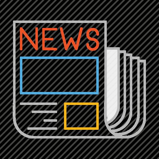 article, journalist, line, magazine, news, newspaper, press, read, reporter icon