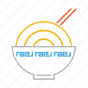 asian, asian food, bowl, chopstick, chopsticks, food, line, noodles icon